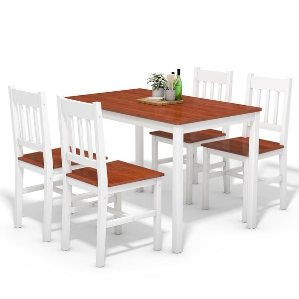 White And Brown Dining Table: Shop Costway 5PCS Pine Wood Dinette Dining Set Table And 4