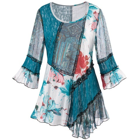 Women's Mixed Pattern Tunic Top - 3/4 Bell Sleeves and Black Lace Trim Blouse