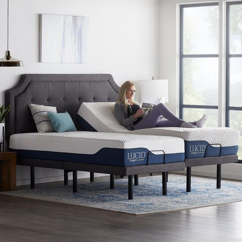 Lucid Comfort Collection 12-inch Gel and Aloe Vera Hybrid Mattress and Deluxe Adjustable Bed Set