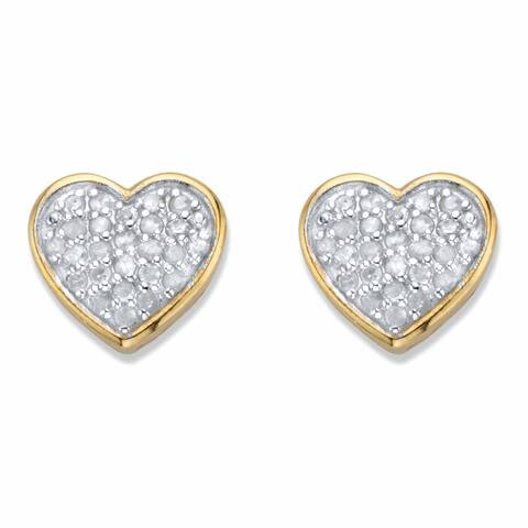 Yellow Gold over Sterling Silver Diamond Heart Shaped Stud Earrings