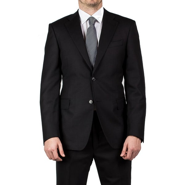 Luciano Barbera Club Men's Two Button Wool Suit Black