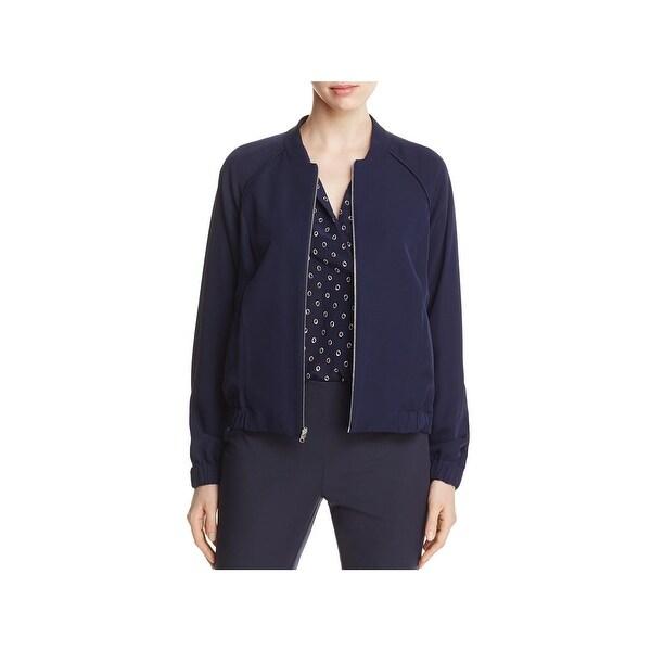 3be90e3d74fc Shop Lafayette 148 New York Womens Bomber Jacket Silk Printed - l ...