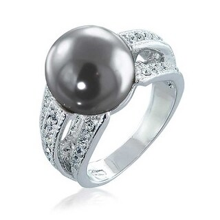 Bling Jewelry Pave CZ Grey Imitation Pearl Cocktail Ring Rhodium Plated - Black