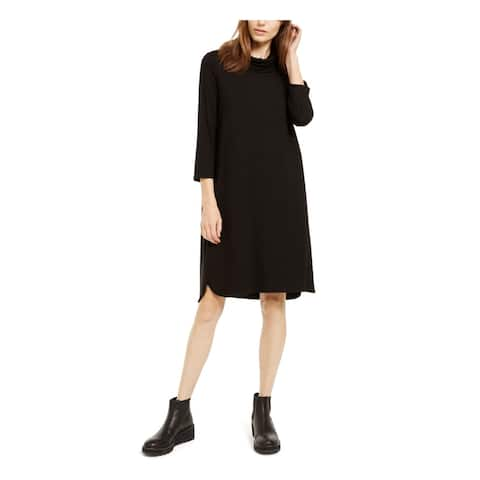 EILEEN FISHER Black 3/4 Sleeve Above The Knee Dress XS\TP