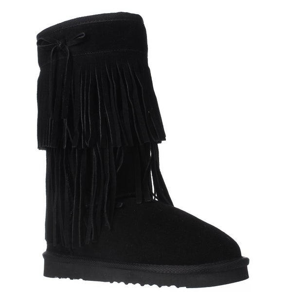 AR35 Senecah Fleece Lined Fringe Winter Boots, Black