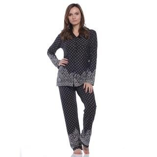 Body Touch Women's Long Sleeve Border Print Pajama Set