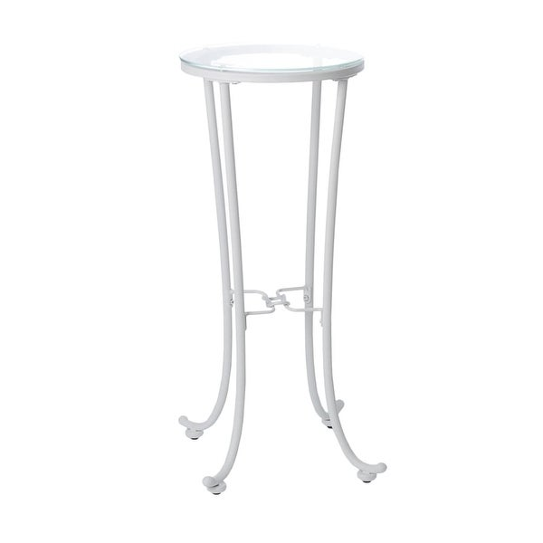 Monarch Specialties I 3334 12 Inch Diameter Gl Top Metal Accent Table White