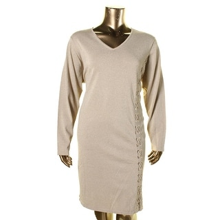 Calvin Klein Womens Plus Metallic Long Sleeves Sweaterdress - 3X