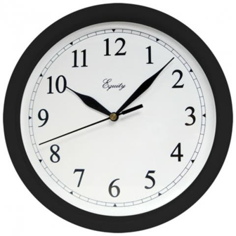 """Equity 25203 Round Wall Clock with Plastic Black Case & White Dial, 10"""""""