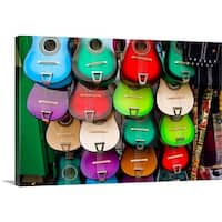 Premium Thick-Wrap Canvas entitled Colorful guitars at a market stall, Olvera Street, Los Angeles, California