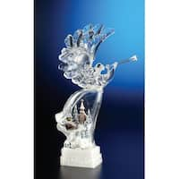 Pack of 2 Icy Crystal Illuminated Christmas Winter Scene Angel Figurines 17""