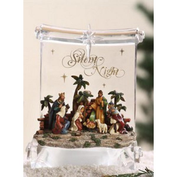 """Pack of 2 Icy Crystal Illuminated Religious Nativity Scroll Figurines 8"""""""