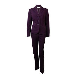 Le Suit Women's Twill Notch Pocket Solid Pant Suit - Concord