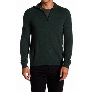 Qi NEW Solid Moss Green Mens Size Large L 1/2 Zip Cashmere Sweater