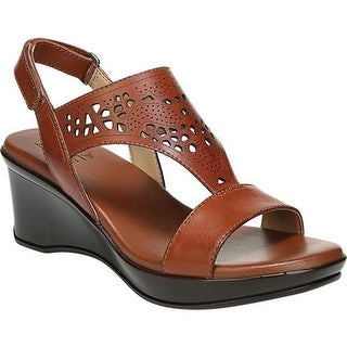 Naturalizer Women's Veda Wedge Sandal Cognac Leather