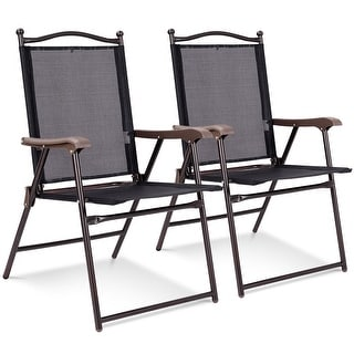 Costway Set of 2 Patio Folding Sling Back Chairs Camping Deck Garden Beach Black - Set of 2