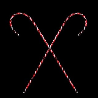 """Set of 2 Peppermint Twist Giant Lighted Candy Cane Pathway Markers Outdoor Christmas Decorations 60"""""""