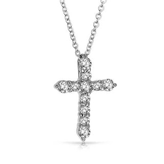 .925 Sterling Silver Round Cut CZ Cross Pendant 18 Inches