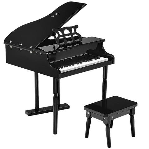 New 30 keys Childs Toy Grand Baby Piano with Kids Pinao Bench Wood - Black