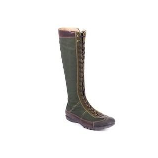 Car Shoe Womens Hunter Green Leather Trim Mid-Calf Combat Boots