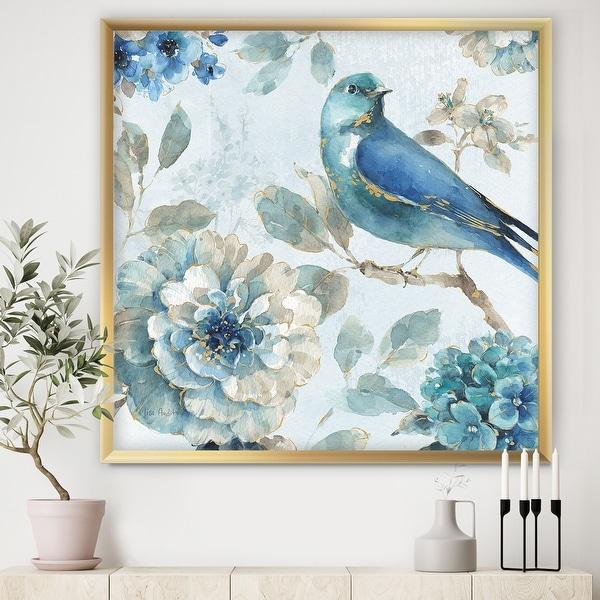 Designart 'Indigold Watercolor Lovely bird II' Farmhouse Framed Art Print. Opens flyout.