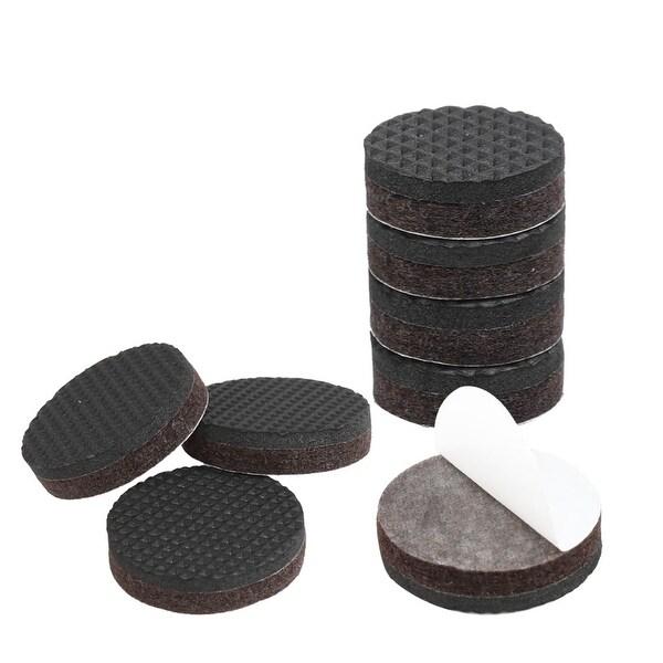 Furniture Felt Pads Grippers Round 1 Inch Self Stick Anti Slip Brown 8pcs