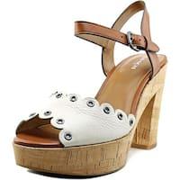 Coach April Women  Open Toe Leather White Platform Sandal