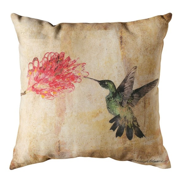 Throw Pillow - Watercolor Floral Hummingbird Indoor/Outdoor Cushion