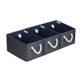 StorageWorks Storage Bin with Rope Handle, 3-Pack, Deep Blue&White Dot