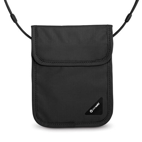 Pacsafe Coversafe X75-Black RFID Blocking Neck Pouch w/ Velcro Flap Closure