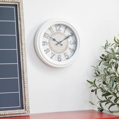 White Iron Farmhouse Wall Clock 14 x 14 x 3 - 14 x 3 x 14
