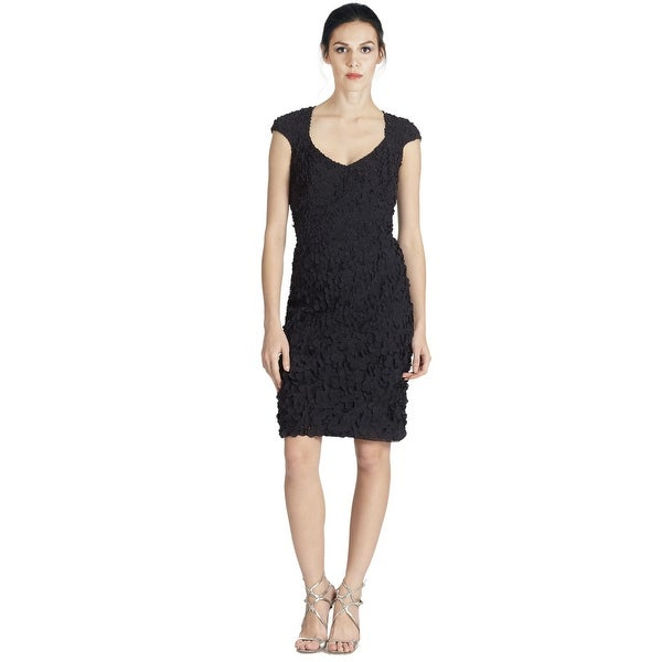 95f54095758 Shop Theia Petal Cap Sleeve Beaded Cocktail Party Dress - 12 - Free ...