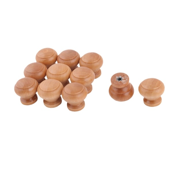 Household Wood Round Furniture Door Closet Pull Handle Grip Knob 26 x 25mm 11pcs