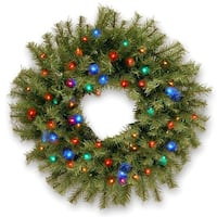 "24"" Norwood Fir Wreath with Battery Operated Multicolor LED Lights - green"