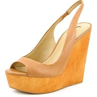 BCBGeneration Haven Women Open Toe Leather Tan Wedge Heel