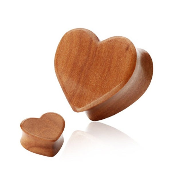Organic Red Cherry Wood Heart Shape Double Flared Plug (Sold Individually)