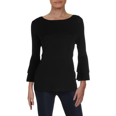 Anne Klein Womens Pullover Sweater Flare Sleeve Tiered