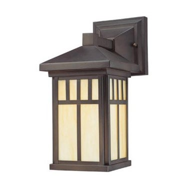 Westinghouse 6732848 Burnham One-Light Exterior Wall Lantern on Steel with Honey Art Glass, Oil Rubbed Bronze Finish