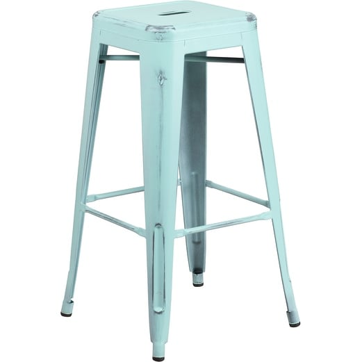 Brimmes 30quot high metal barstool backless distressed green for Homegoods industrial furniture