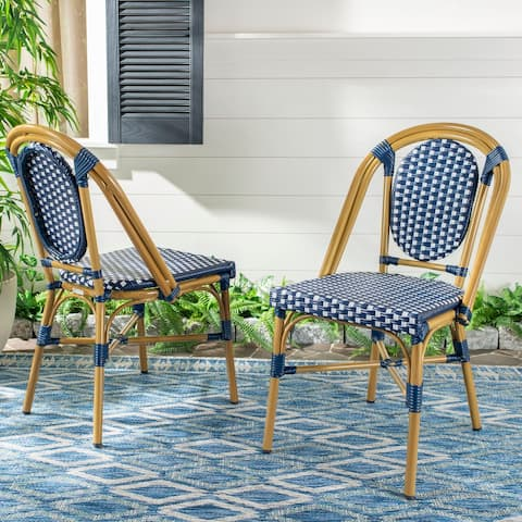 "Safavieh Outdoor Living Lenda French Bistro Chair - Navy / White (Set of 2) - 18.1""x23.6""x35"""