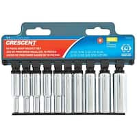 Crescent CSAS10 SAE Deep Well Socket Set, 1/4""