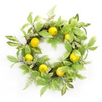 "Pack of 2 Artificial Yellow Lemons and Green Foilage Decorative Wreaths 20""-Unlit"