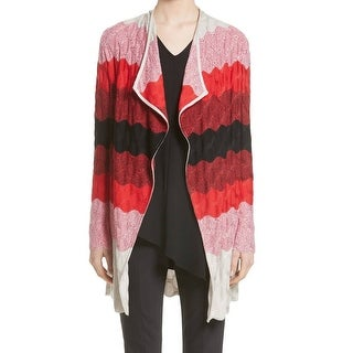 St. John NEW Red Women's Size Large L Striped Open Cardigan Sweater