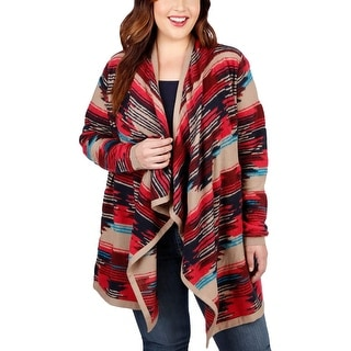 Lucky Brand Womens Plus Cardigan Sweater Printed Long Sleeves - 1x