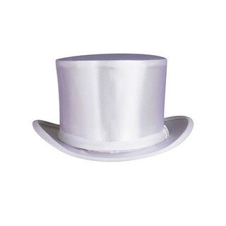 White Collapsible Silk Satin Top Hat