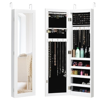 Costway Wall Door Mounted Mirrored Jewelry Cabinet Organizer Storage LED Light White