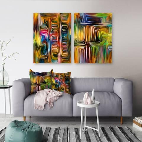 Designart 'Colour Fusion Collection I' Transitional Set of 2 Pieces