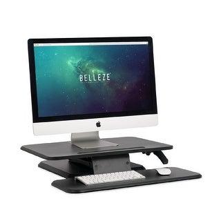 BELLEZE Desktop Converter Gas Riser Spring Standing Desk Height Adjustable Tabletop Workstation Keyboard Tray 25 Inch