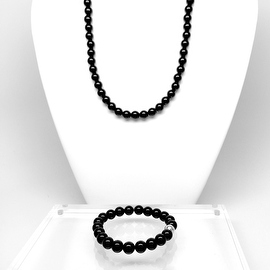 Black Onyx 'Smooth' Necklace & Stretch Bracelet Set, 14k over Sterling Silver