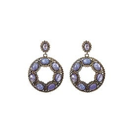 Genuine Diamond and Blue Sapphire Round Shape Earring, Sapphire Diamond Earring